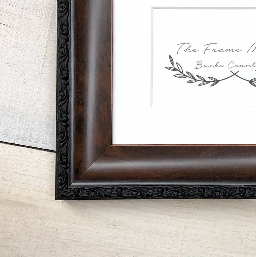 Hanover Walnut Wood Picture Frame With Mat 5x7 6x8 8x10