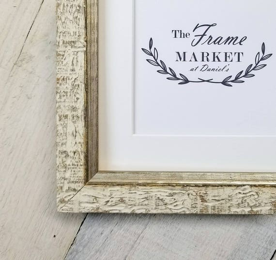 Haven White Distressed Wood Picture Frame with White Mat 5x5   Etsy