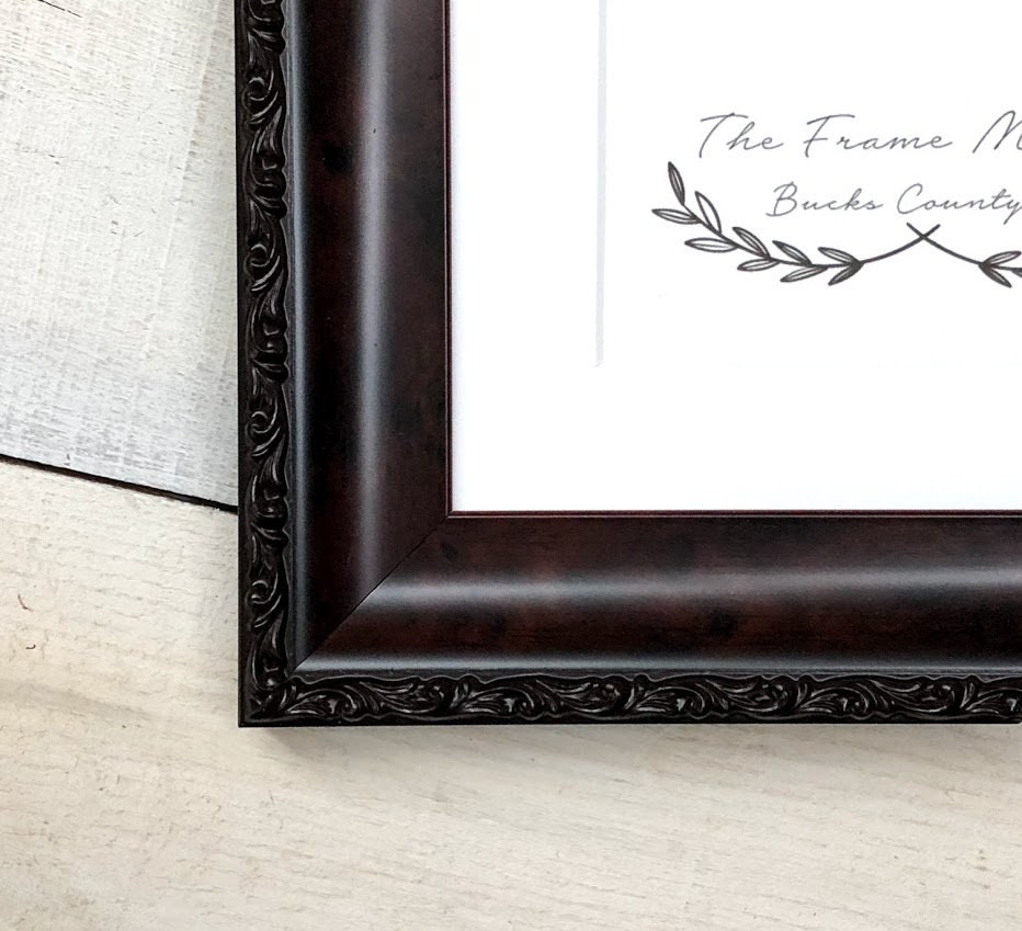 Hanover Mahogany Wood Picture Frame With Mat 5x7 6x8