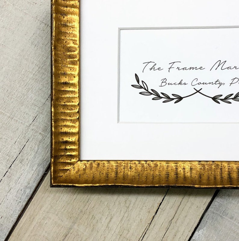Gold Ripple 1'' Wood Picture Frame with White Mat 8x10, 9x12, 11x14, 14x16,  16x20 Custom & Standard Sizes Available