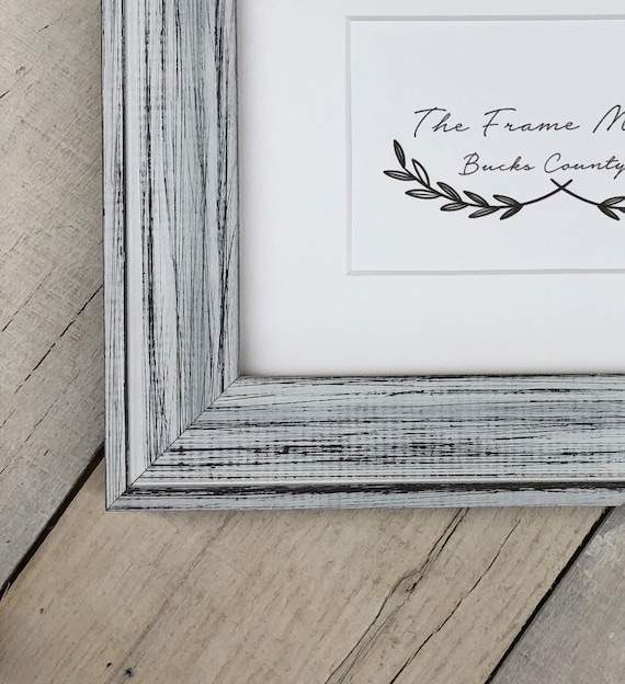 Alberta White Distressed Wood Picture Frame With White Mat   Etsy