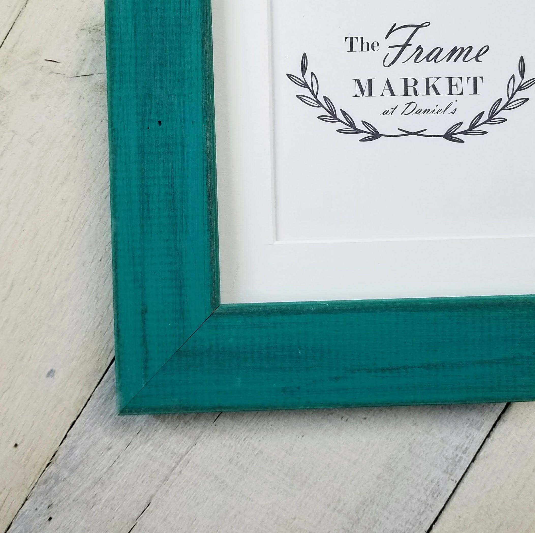 Blanaid Teal Distressed Wood Picture Frame With White Mat