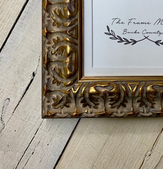 Baroque Ornate Antique Gold 2\u2019\u2019 Wood Picture Frame with White Mat Standard /& Custom Sizes Available. 9x12 11x14 16x20 14x16 8x10