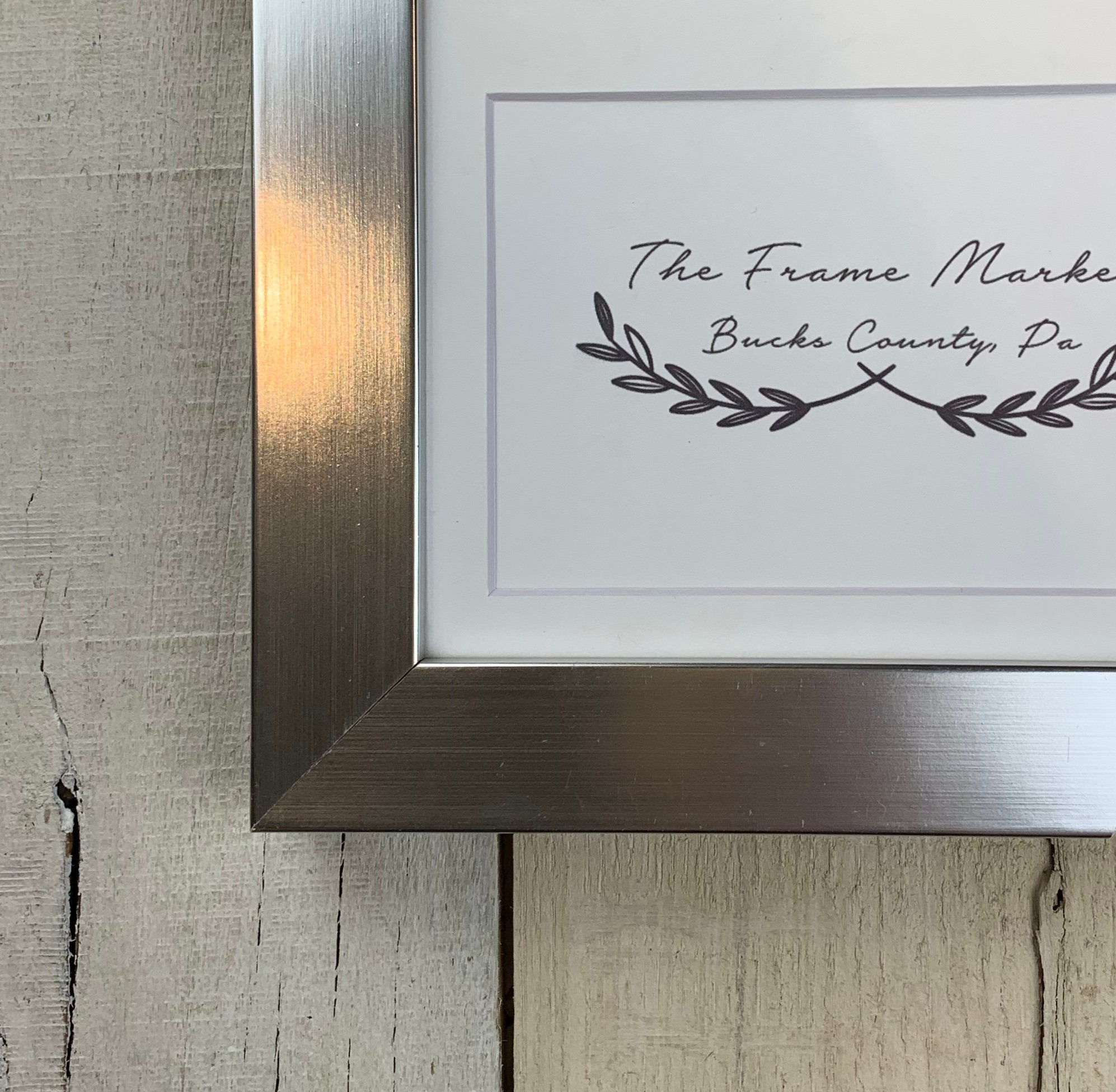 Silver Shine Wood Picture Frame With White Mat 8x10 9x12