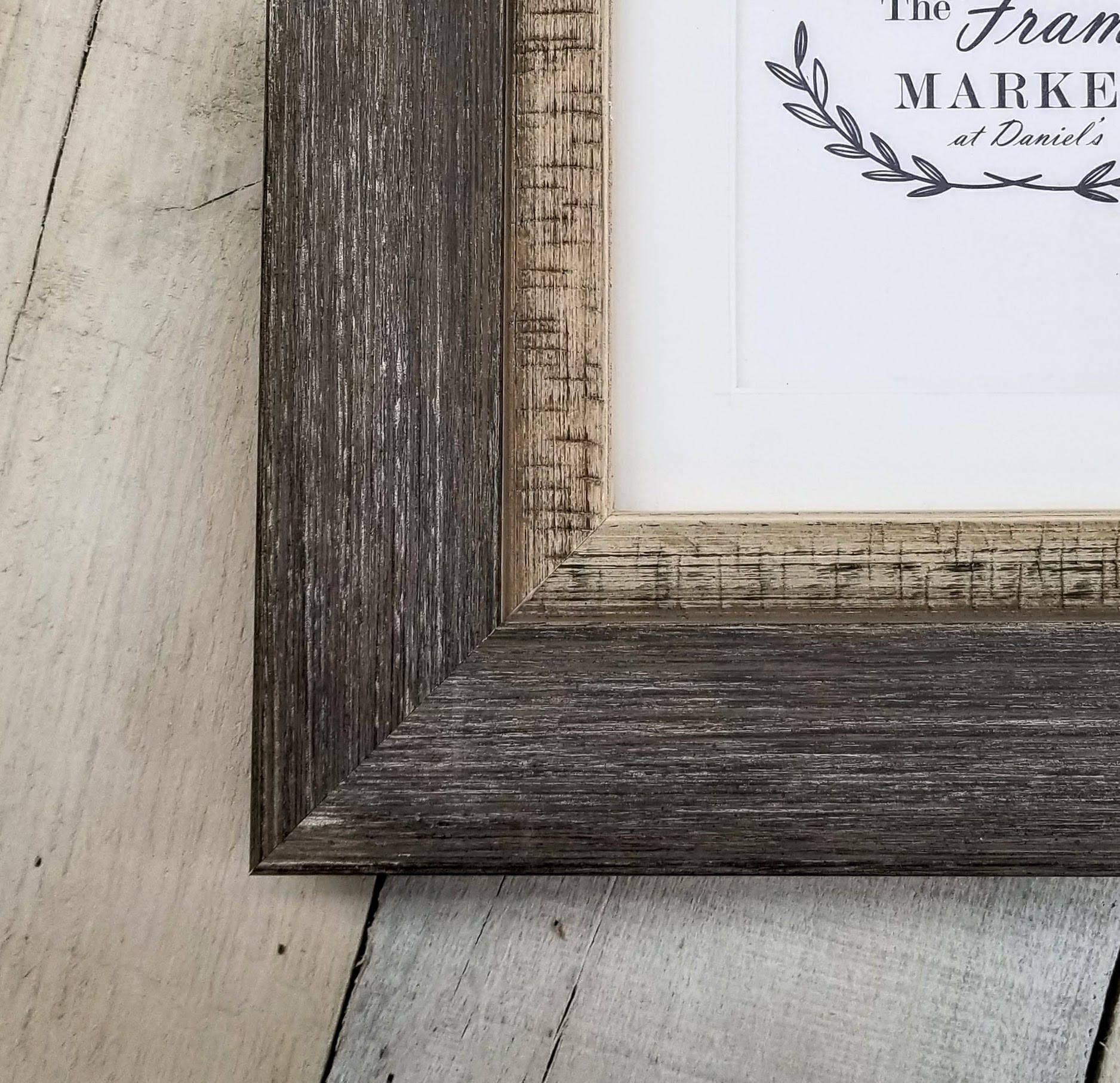 Miramar Large Distressed Charcoal Wood Picture Frame With