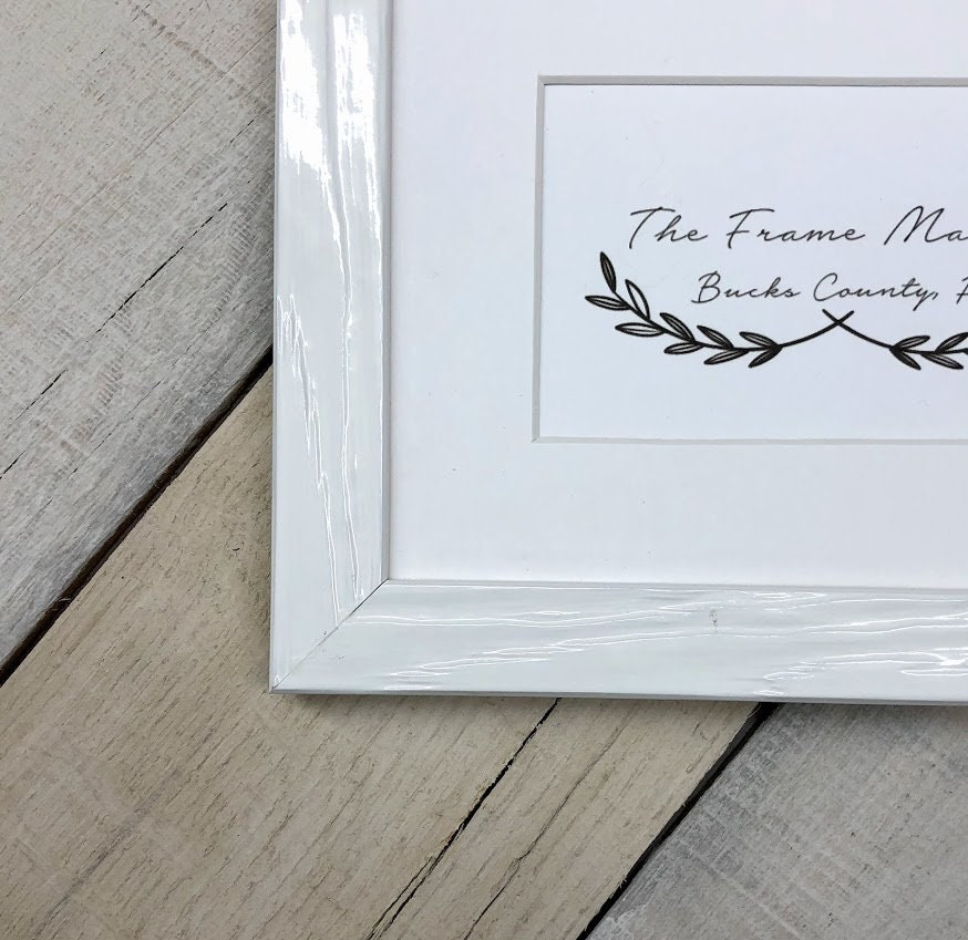 Palm Gloss White Wood Picture Frame With Mat 5x7 6x8