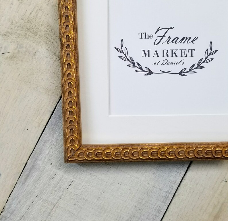 c2e9e092dce Rings Wood Picture Frame Gold with White Mat Glass and
