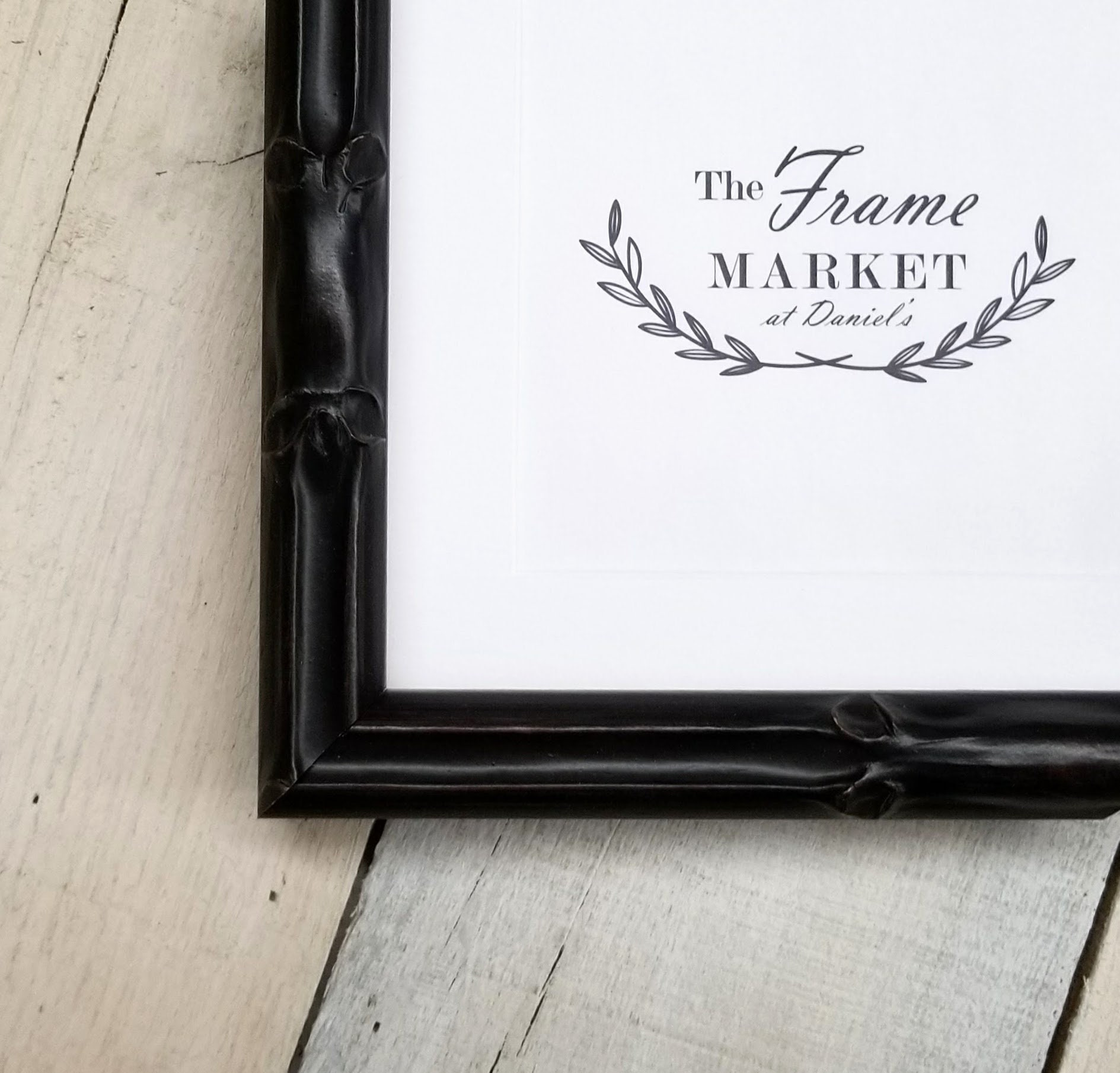 Lucky Large Bamboo Black Wood Picture Frame With White Mat