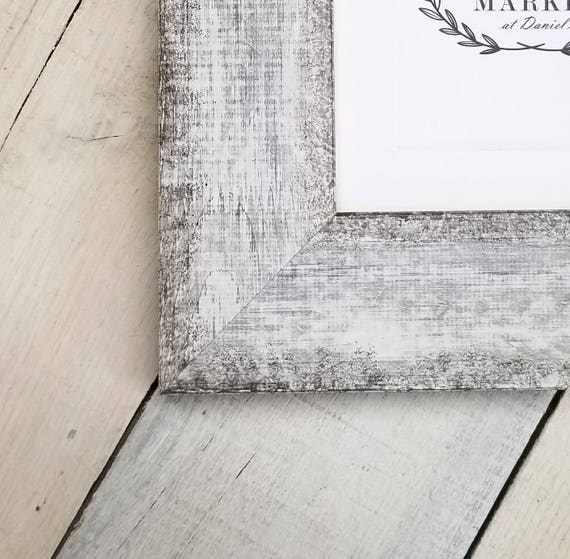 Calistoga White 2 3/4\'\' Distressed Wood Picture Frame   Etsy
