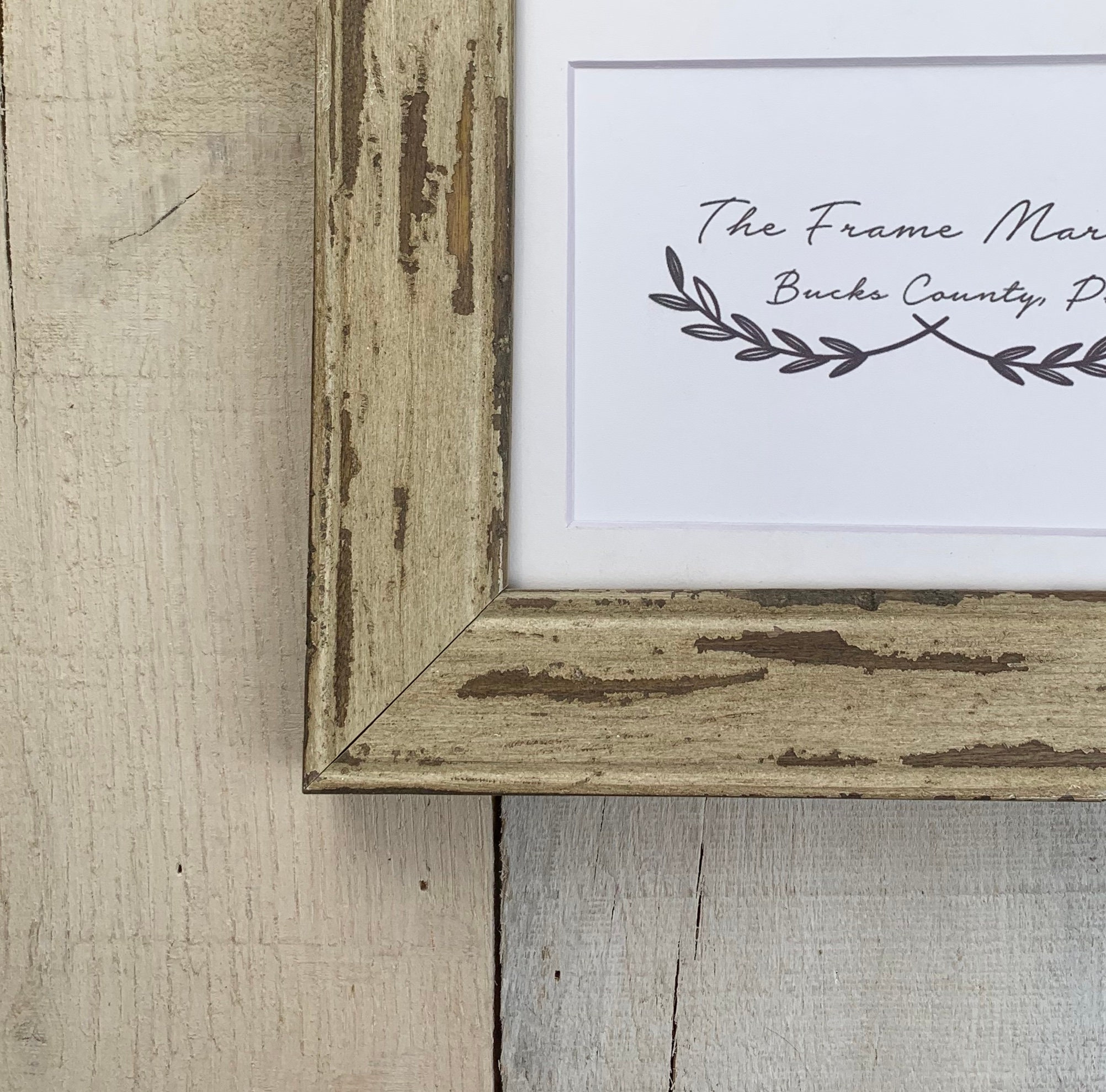 Cream Barn Wood Picture Frame With White Mat 8x10 9x12