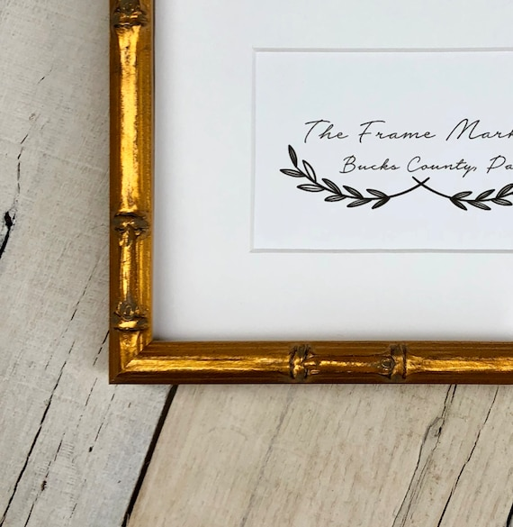 Lucky Bamboo Gold Wood Picture Frame With White Mat 8x10 Etsy