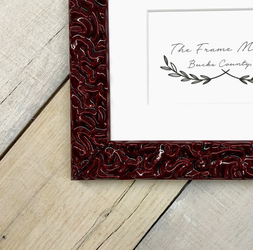 Picasso Gloss Red Wood Picture Frame With Mat 5x7 6x8