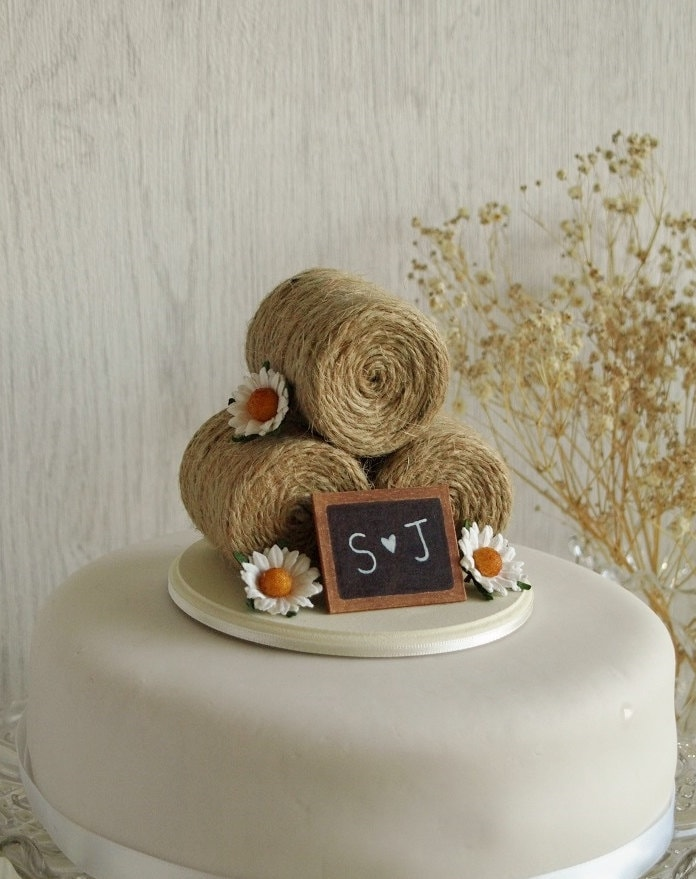 Rustic Wedding Cake Topper Hay Bale Cake Topper With Daisies Etsy