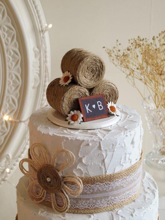 Rustikale Hochzeitstorte Topper Heu Ballen Kuchen Deckel Mit Etsy
