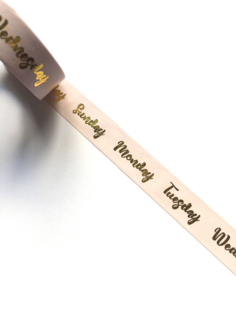 Gold foil days of the week washi tape image 0