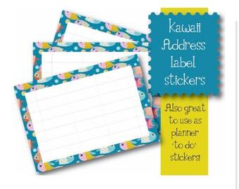 Kawaii Fish themed 10 x A7  Self Adhesive address labels snail mail