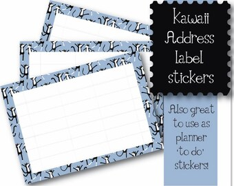 Kawaii Tuxedo Cats  10 x A7  Self Adhesive address labels snail mail