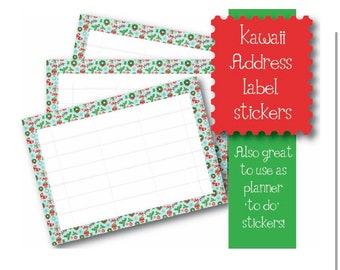 Kawaii Christmas Wreath themed 10 x A7  Self Adhesive address labels snail mail