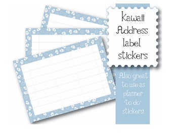Kawaii Christmas Mittens 10 x A7  Self Adhesive address labels snail mail