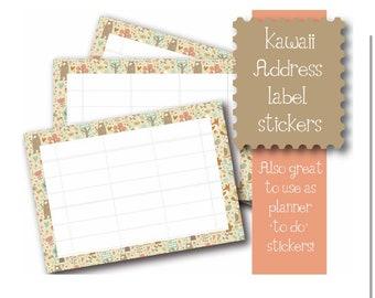 Kawaii Cute Woodland Animal themed 10 x A7  Self Adhesive address labels snail mail