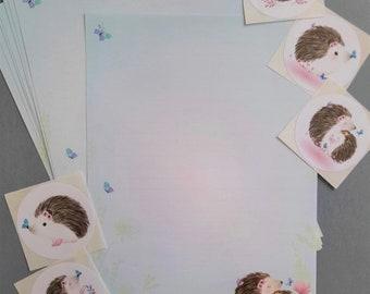 A5 Kawaii Hedgehog letter writing paper notepaper sheets stationery penpalling snailmail