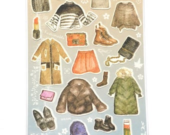 Winter clothing stickers