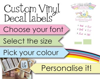 PERSONALISED Custom Vinyl Labels Decal Name Sticker Cleaning Wax Melts Laundry Kids Lunch Boxes Bottles Home