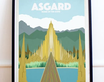 Asgard Retro Style Travel Poster Style Print - Thor - Hulk - Asgard Print - Asgardian - Bifrost (Available In Many Sizes)