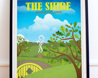 The Shire - Lord of the Rings - The Hobbit - Travel Poster Style Art Print - Lord of the Rings Poster - Retro - Wall Art - Home Decor