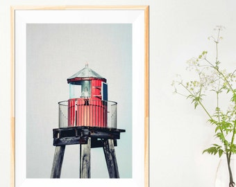 "Lighthouse Photograph - Red Nautical Decor - Beach House - Lighthouse Decor - Coastal Art - Whitby - Coastal Decor - ""Lonesome Watch"""