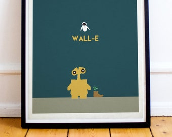 Wall-E Minimalist Poster Print - Walle - Robot - Eva - Eve - Pixar - Disney Art Print (Available In Many Sizes)