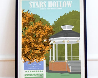 Stars Hollow Travel Poster - Gilmore Girls - Lorelai - Rory - Luke - Stars Hollow - Retro Travel Print - Gazebo