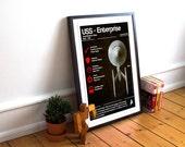 USS Enterprise - Specification Sheet - Blueprint - Art Poster Print - Star Trek - Spock - Kirk (Available In Several Sizes)