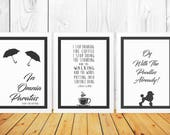 Gilmore Girls Quote Set of Three Prints - Lorelai Typography Prints - Oy With The Poodles - Stop Drinking Coffee - Omnia Paratus