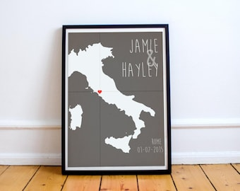 Personalized Italy Location Print - Wedding - Anniversary - Where We Met - First Date - Baby Birth - Coordinates (Available In Many Sizes)