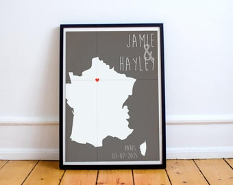 Personalized France Location Print - Wedding - Anniversary - Where We Met - First Date - Baby Birth - Coordinates (Available In Many Sizes)
