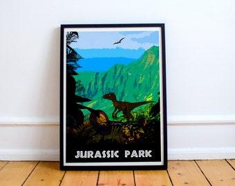 Jurassic Park - Velociraptor - Movie Art Print (Available In Many Sizes)