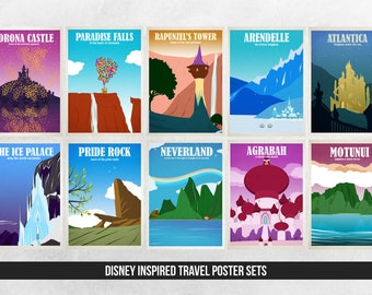 Disney Travel Poster Sets - Choose from 2 to all 12 prints - Wall Art Poster Print - Disney Prints - Disney Posters - Pride Rock - Neverland