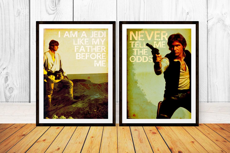 Han Solo & Luke Skywalker Quote Set Typography Art Prints