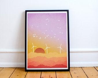 Sunset Art, Abstract Art Print, Pink and Orange, Modern Wall Art, Windmills, Mountain Art, Mountain Landscape, Abstract Landscape Print