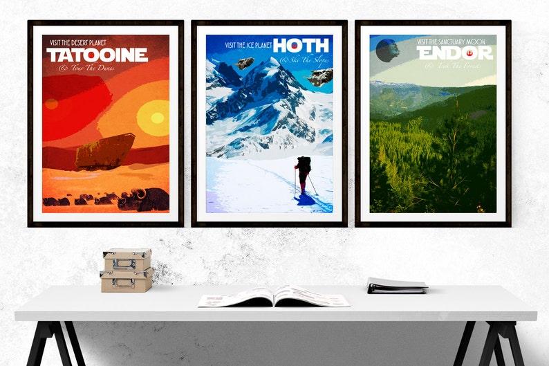 Set of Three  Star Wars Travel Poster Prints  Hoth  Endor  image 0