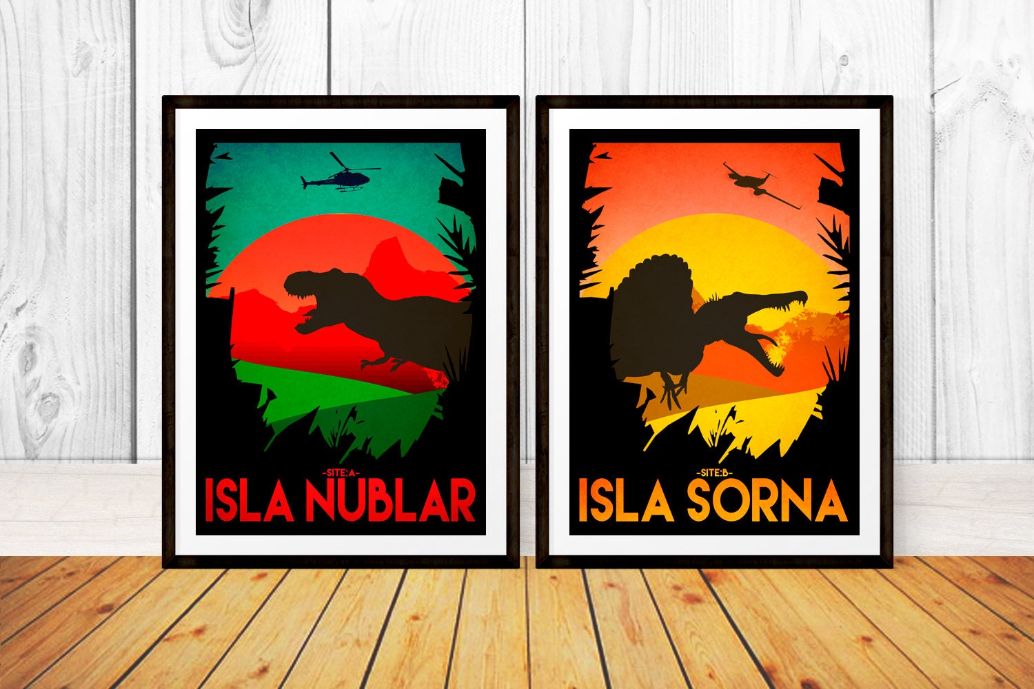 Jurassic park travel poster set isla nublar sorna site a b wall art print available in many sizes
