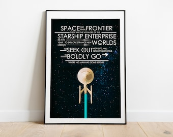 Star Trek - Captains Oath - Mission Oath - Quote Typography Art Poster Print - (Available in Many Sizes)
