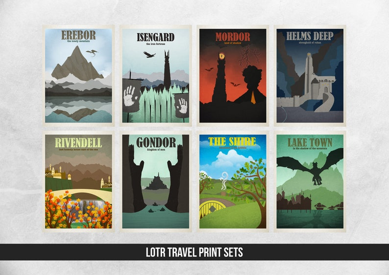 Lord of the Rings Travel Print Sets  Location Style Prints  image 1