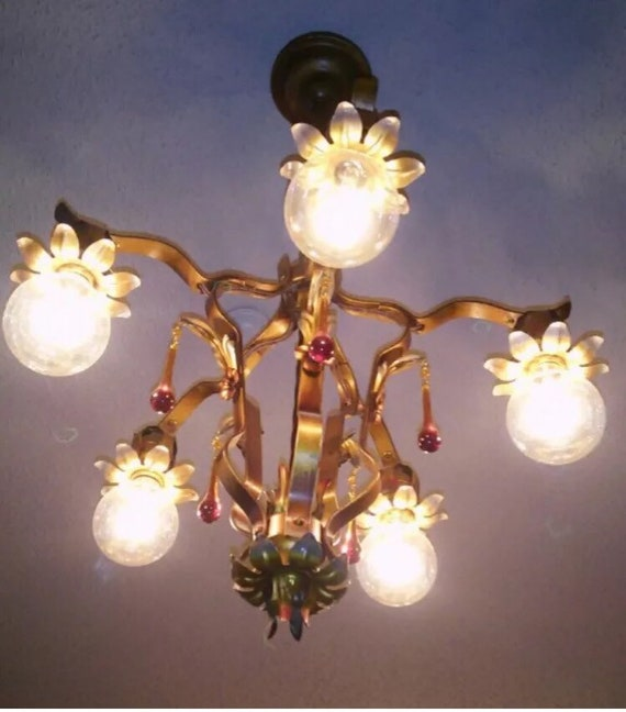 Authentic 1920's 1930s Chandelier Victorian Light Fixture.Art NouveauArt Deco chandelier, metal tassel.Five Hubbel light sockets Chandelier