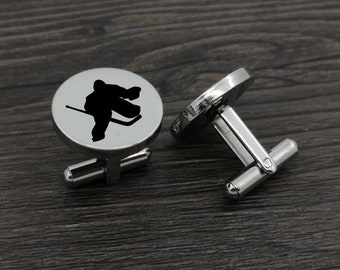Ice Hockey Goalie Cufflinks & Tie Bar Silver Plated Engraved Wedding Gifts ,Father's Day Party Shirts 19mm Round Cuff Links