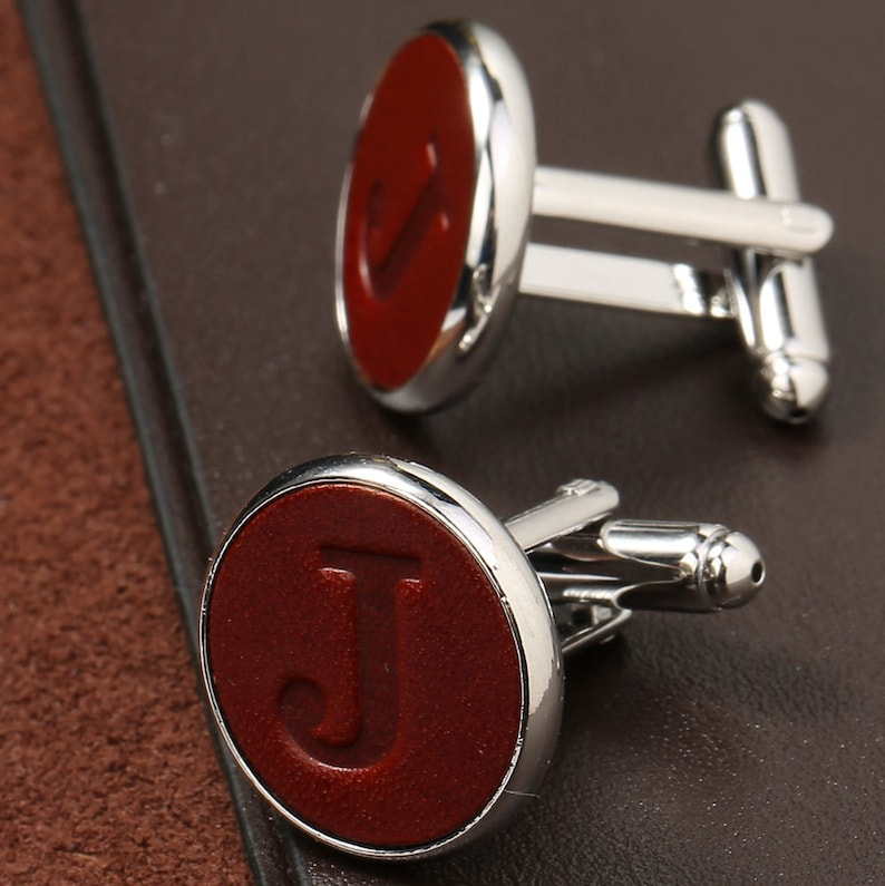 Stamped Leater Men/'s Cufflinks\uff0cCustom A-Z Alphabet Letter,Name Jewelry\uff0cGroom Groomens Wedding Cuff Links,Father /'s day gift