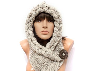 Tweed hooded, Hooded Scarf, Scarf, Hood, scarf hooded, Chunky scarf, Cowl by LoveKnittings