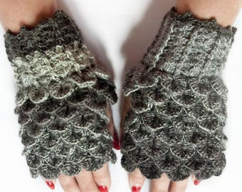 Dragon Scale Fingerless Gloves, Dragon Gloves, Crocodile Fingerless Gloves, Gift For Her, Gift For Christmas by LoveKnittings