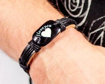 Men's Bracelet - Men Leather Bracelet - Men's Jewelry - Men Bracelet - Men Jewelry - Men's Gift - I love you